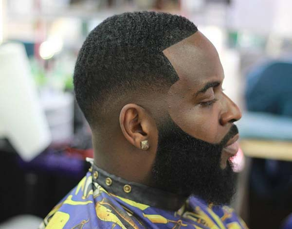 Black Men Taper Fade Haircuts with Beard