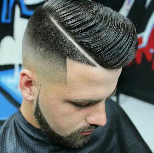 Flipped Tapered Sides Haircut with Beard