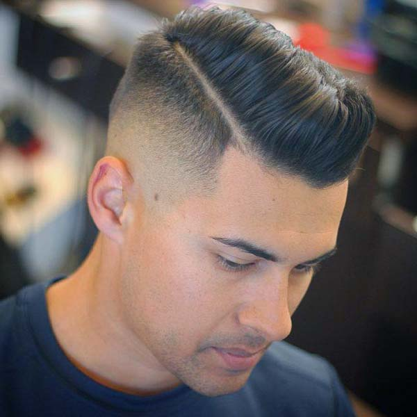 Hard-Parted High Bald Taper Fade Haircut