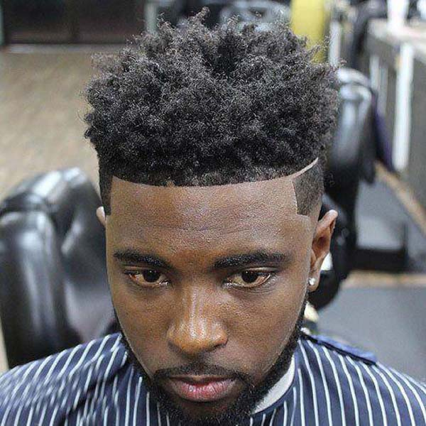 Line up Fade Haircut for Black Men with Hard Part