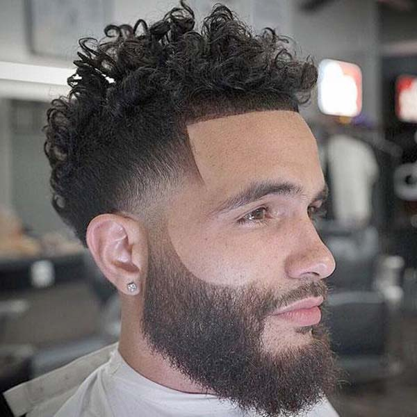 Taper Haircut Curly Hair with Beard