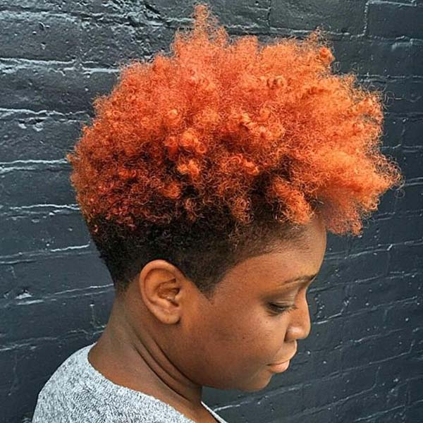 Tapered Haircuts on Natural Hair with Rainbow Hairdo