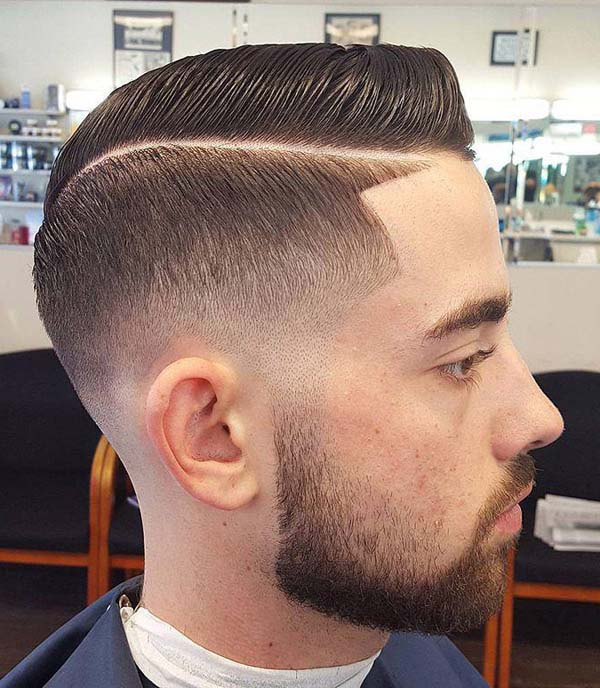 Tapered Sides Lined Up Fade with Hard Part