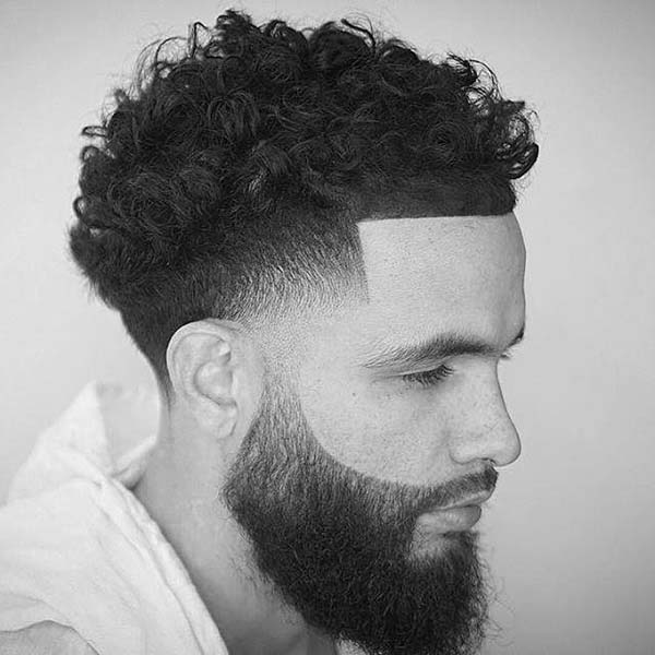 All around Comb Over Taper Haircut with Beard