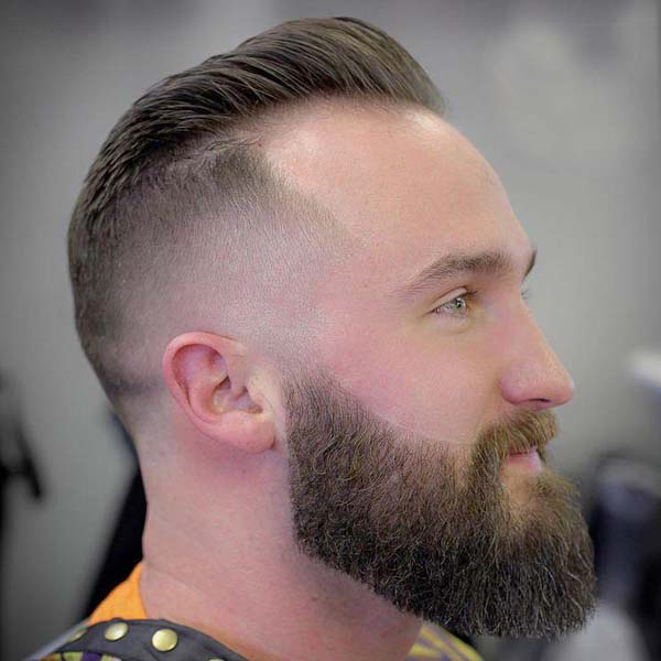 Bald Taper Haircut with Beard