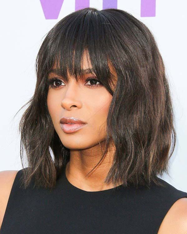 Easy Shoulder Length Hairstyles for Black Women with Bangs