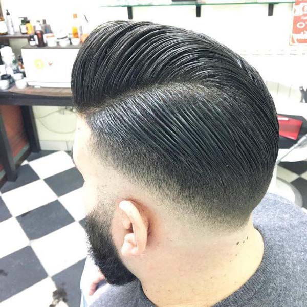 Long Comb Over Tapered Haircut Back View
