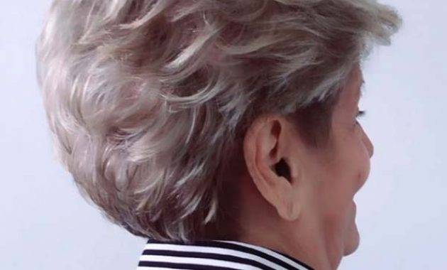 Short Hairstyles for Women over 50 with Round Faces Back View