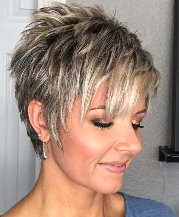 Short Layered Hairstyles with Bangs for Women over 40