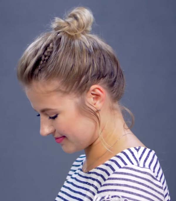 Short Summer Hairstyles for Round Faces with Bun
