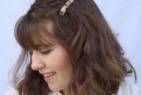 Short Summer Hairstyles with Bangs and Braidy Bunch