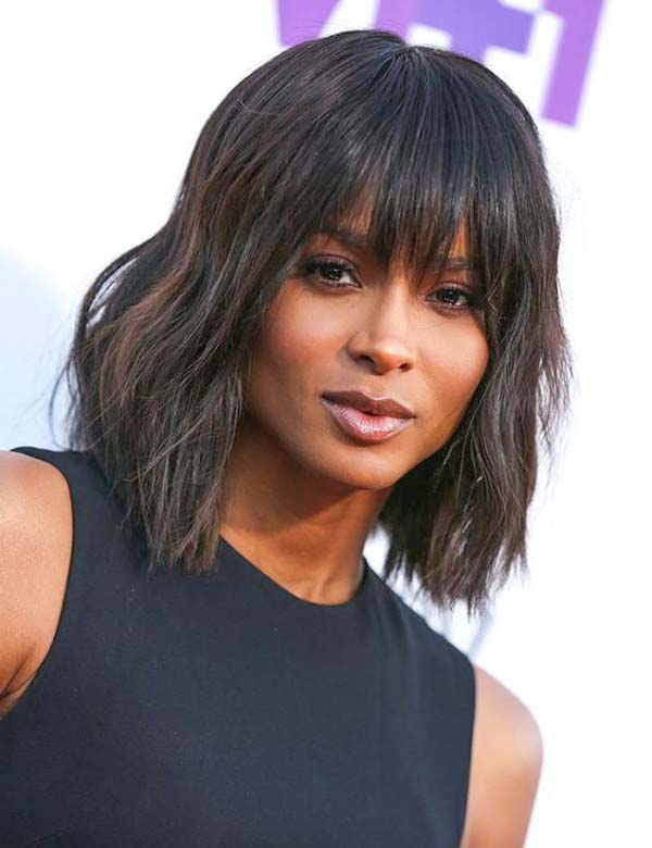 Shoulder Length Hairstyles for Black Women with Bangs