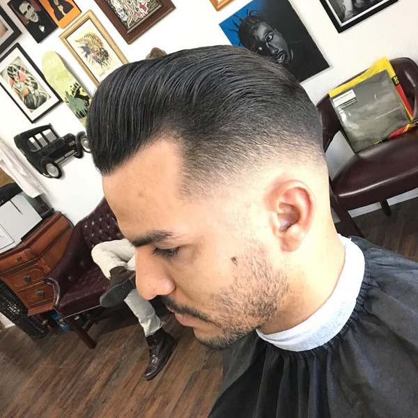 Slick Back Comb Over Low Fade Haircut