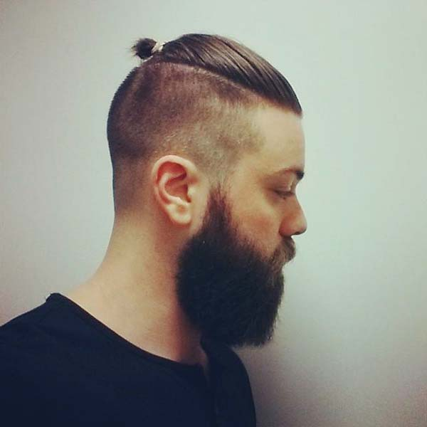 Top Knot Taper Fade Mohawk Haircut